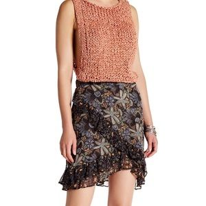 Free People Around the World Floral Ruffle Skirt